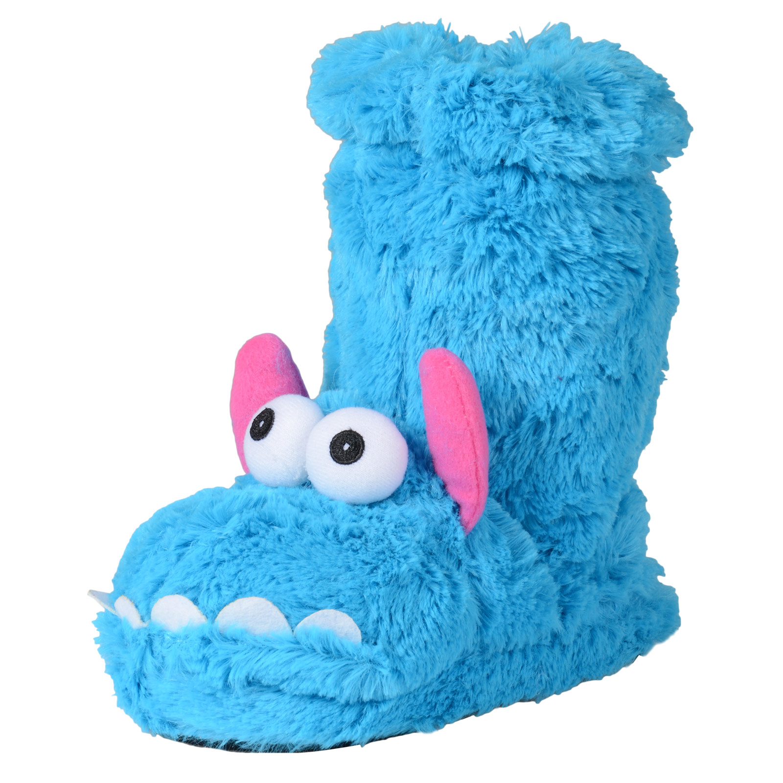 Girls & Ladies Novelty Padded Faux Fur Monster Sock Slippers With Anti-Slip Sole