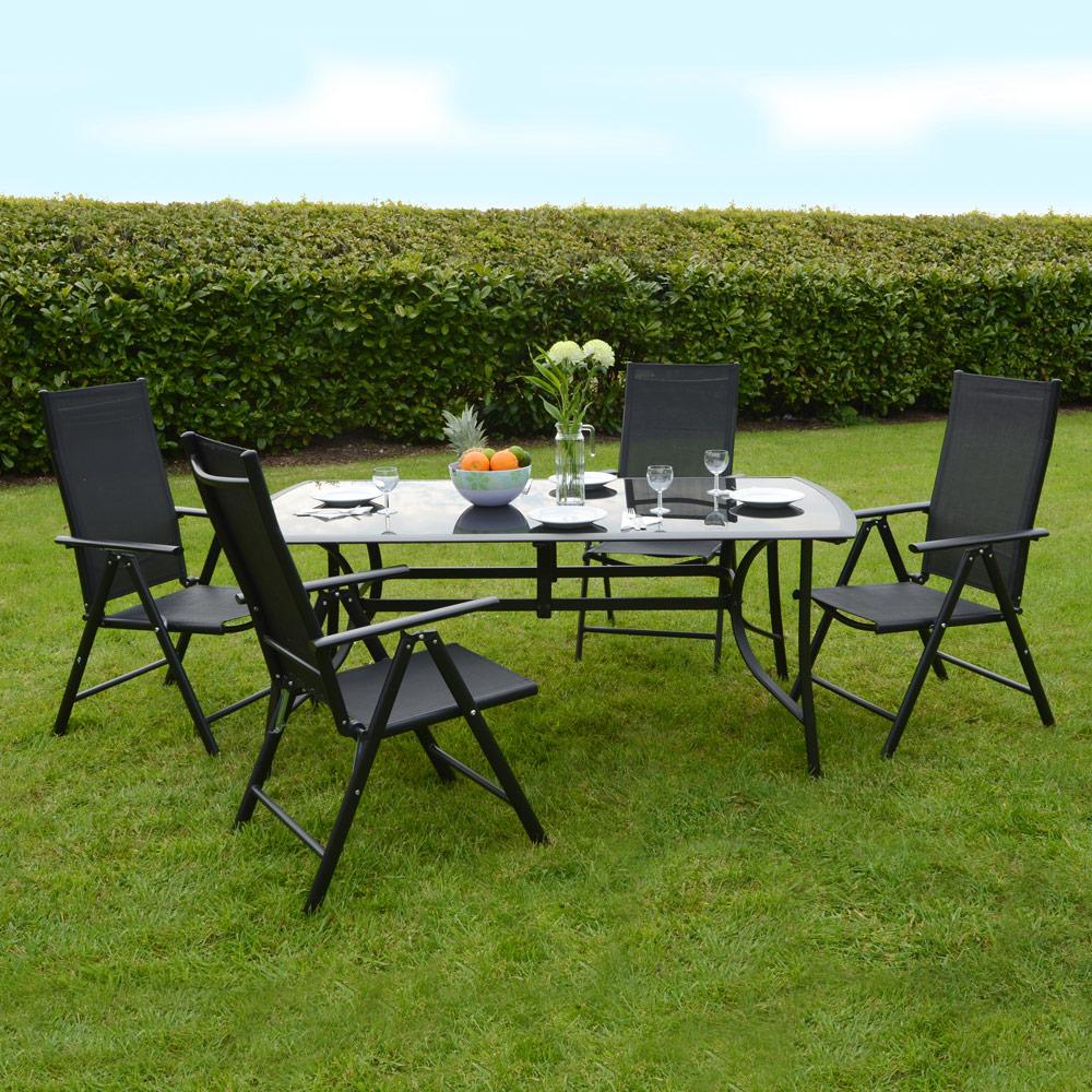 aluminium glass modern garden dining furniture table 4 chairs