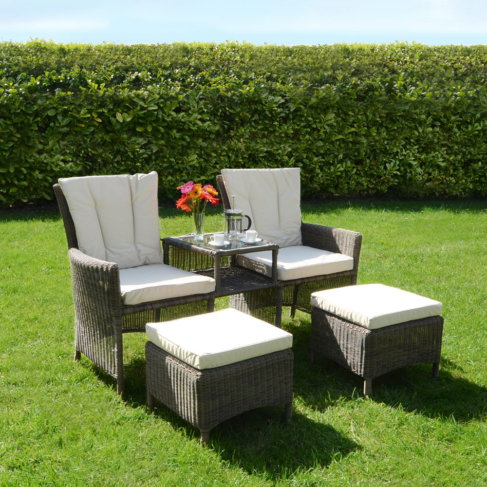 Bordeaux 3 piece companion love seat wicker rattan garden for Garden love seat uk