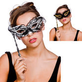 Lace Eyemask With Stick Handle Fancy Dress Venetian Carnival Mask
