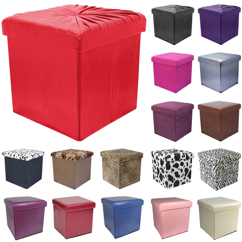 38cm Folding Storage Pouffe Cube Foot Stool Seat Ottoman Toy Box With Lid DD31  sc 1 st  eBay & 38cm Folding Storage Pouffe Cube Foot Stool Seat Ottoman Toy Box ... islam-shia.org