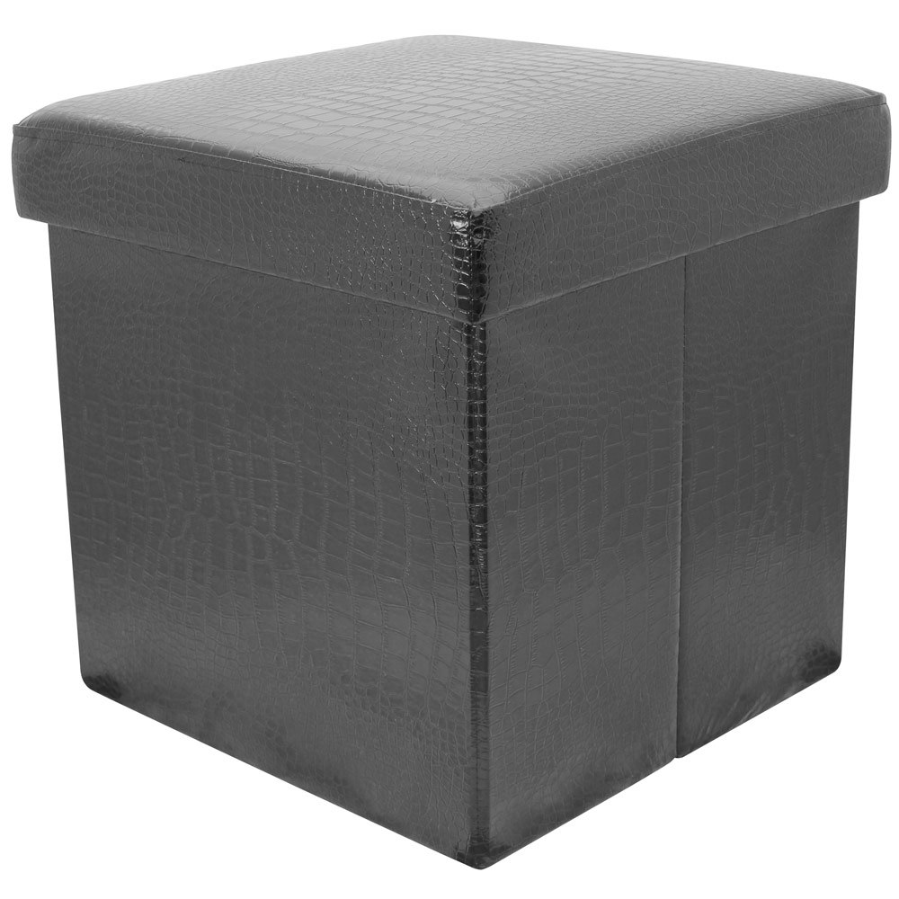 38cm folding storage pouffe cube foot stool seat ottoman toy box with lid dd31 ebay. Black Bedroom Furniture Sets. Home Design Ideas