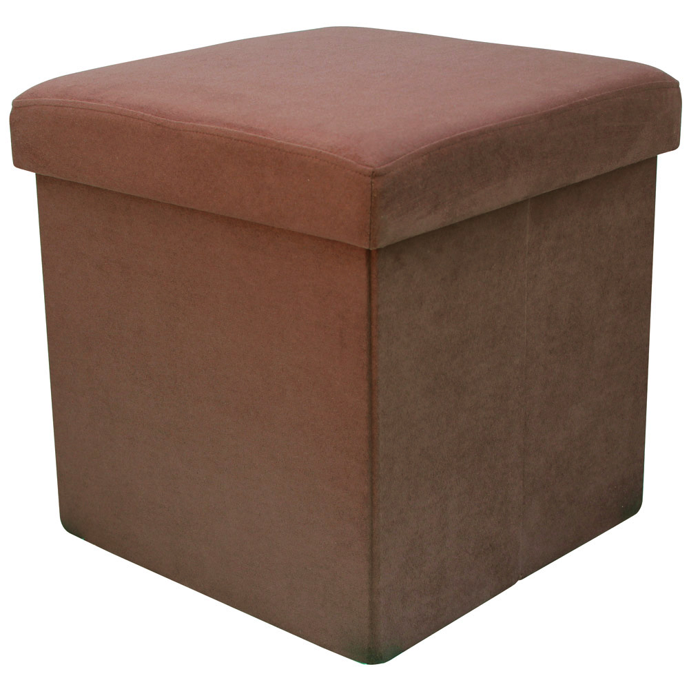 38cm folding storage pouffe cube foot stool seat ottoman for Foot storage ottoman