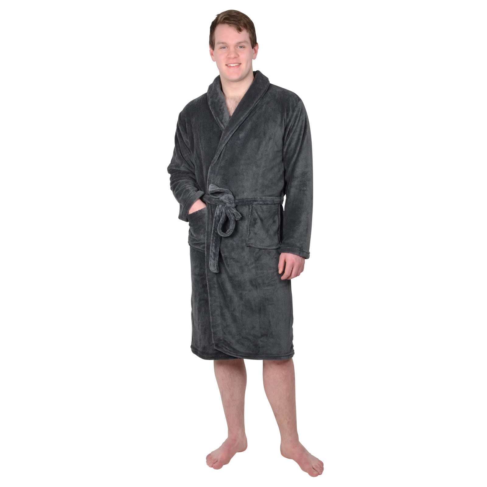 Mens Coral Fleece Bath Robe Black Blue Charcoal Dressing Gown ...