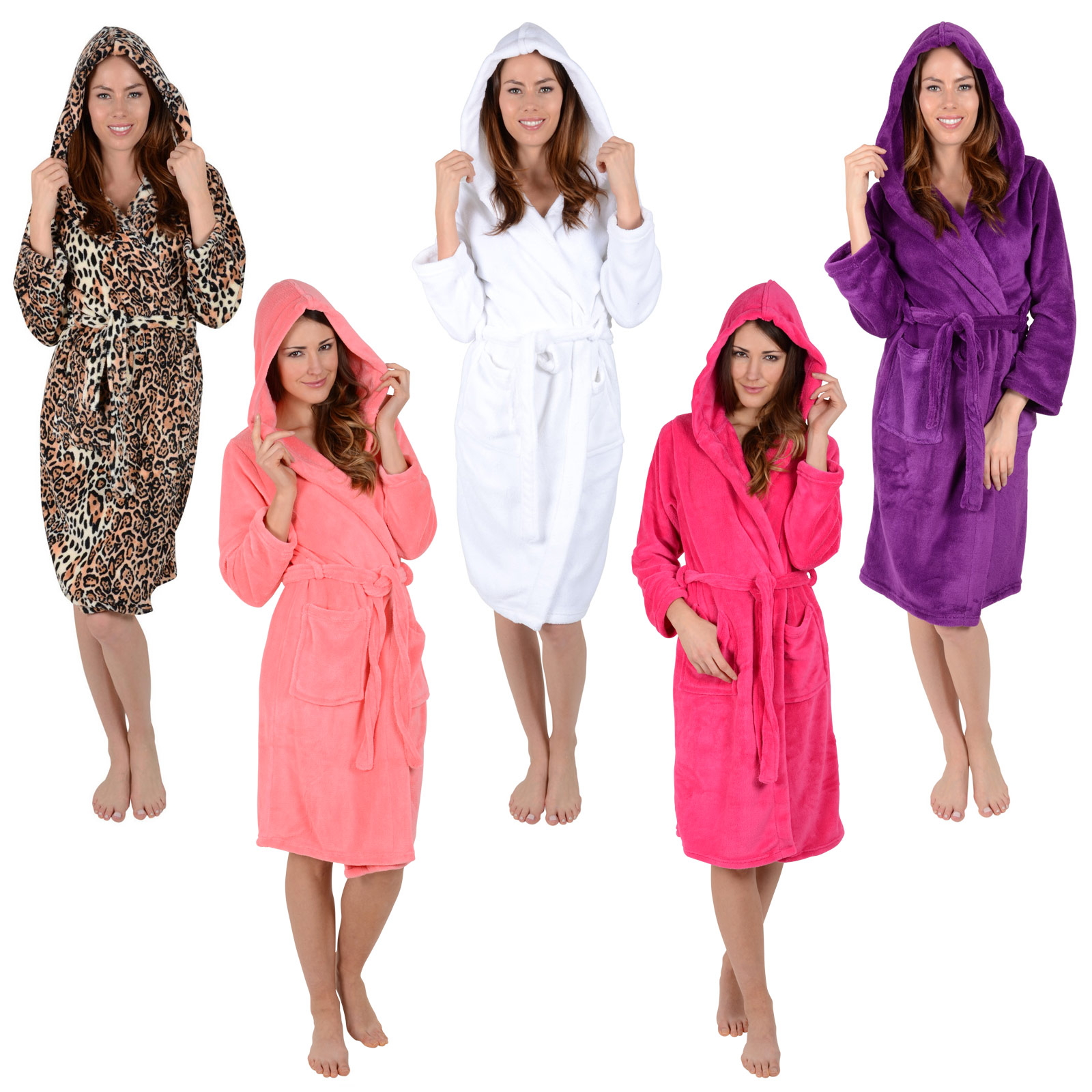 Ladies Coral Fleece Bath Robe With Hood White Plum Leopard ...