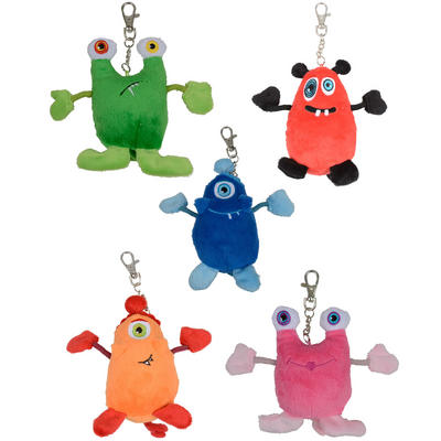 Cute Annoying Monsters Keychain Keyring Soft Cuddly Squeeze Me Toy New