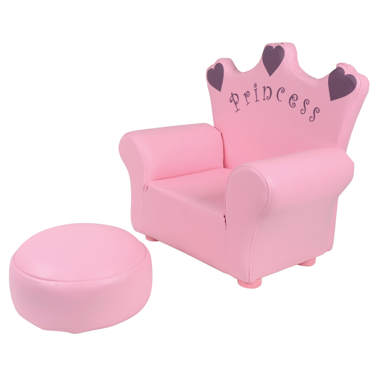 Kids pu leather look armchair sofa chair footstool for Pink kids chair