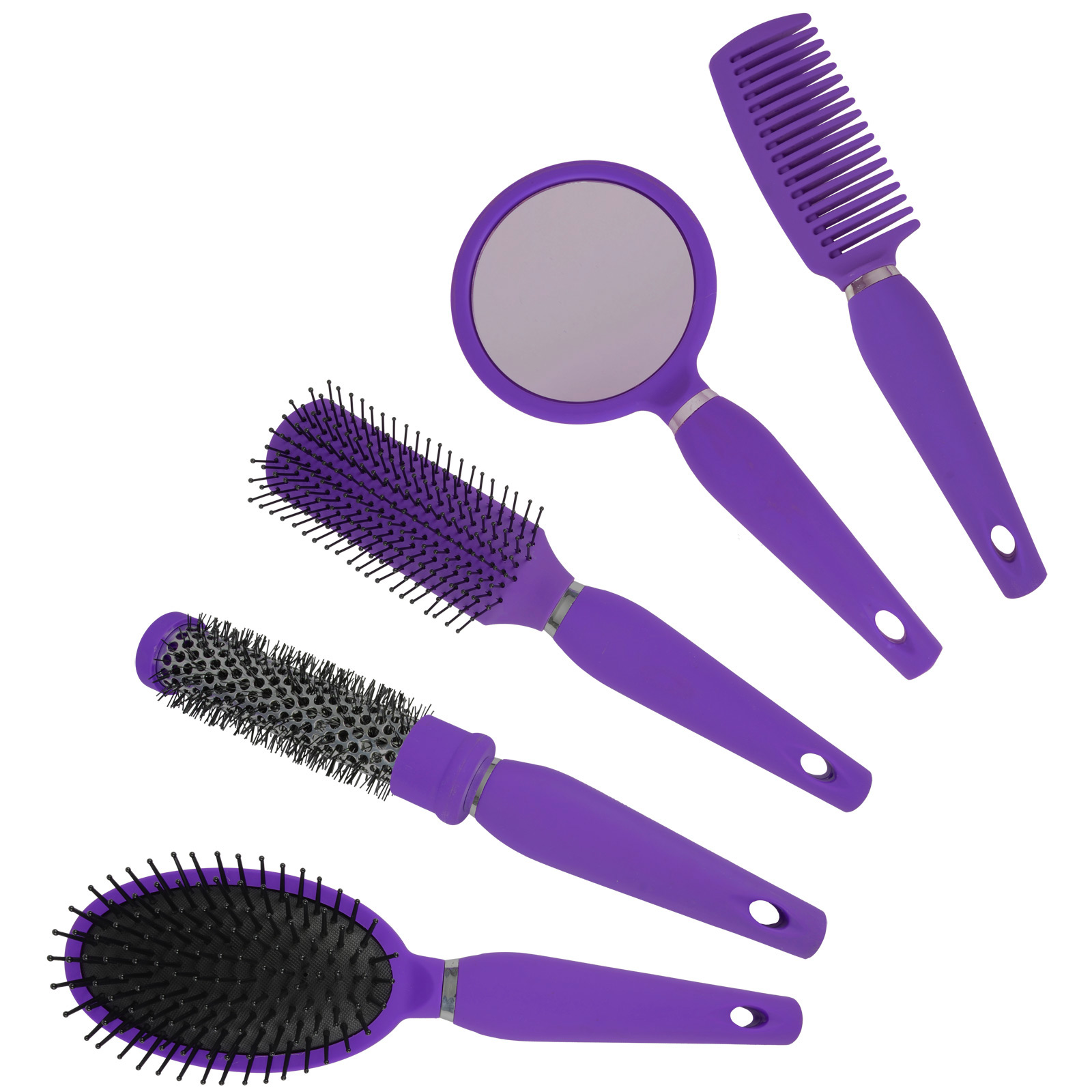 Salon-Styler-5-Piece-Quality-Hair-Care-Hair-Brush-Gift-Set-With-Mirror-amp-Stand