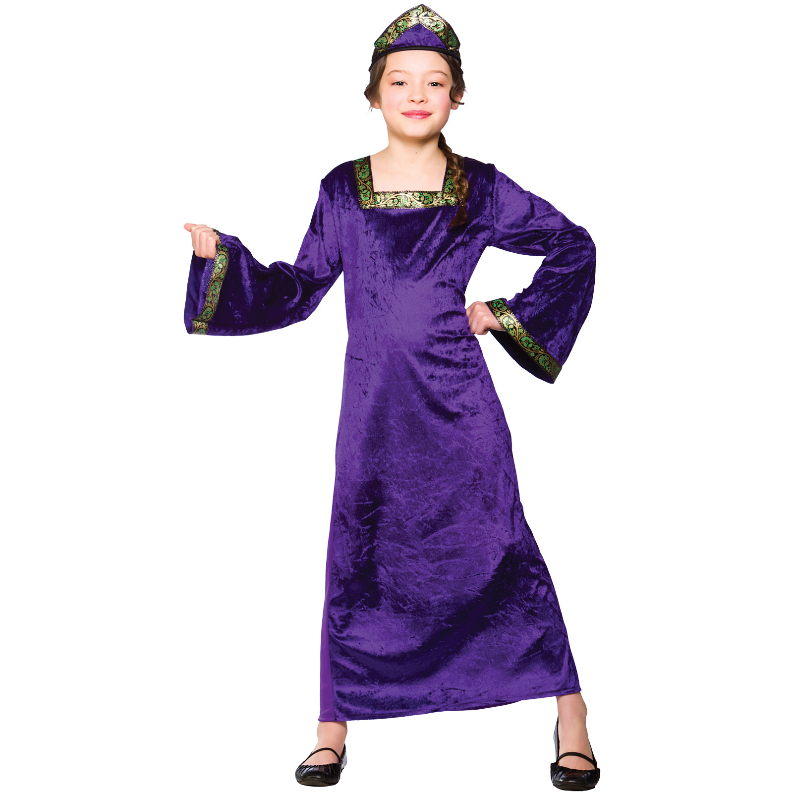 Child-Girls-Medieval-Princess-Purple-Costume-Fancy-Dress-Up-Play-Party-Halloween