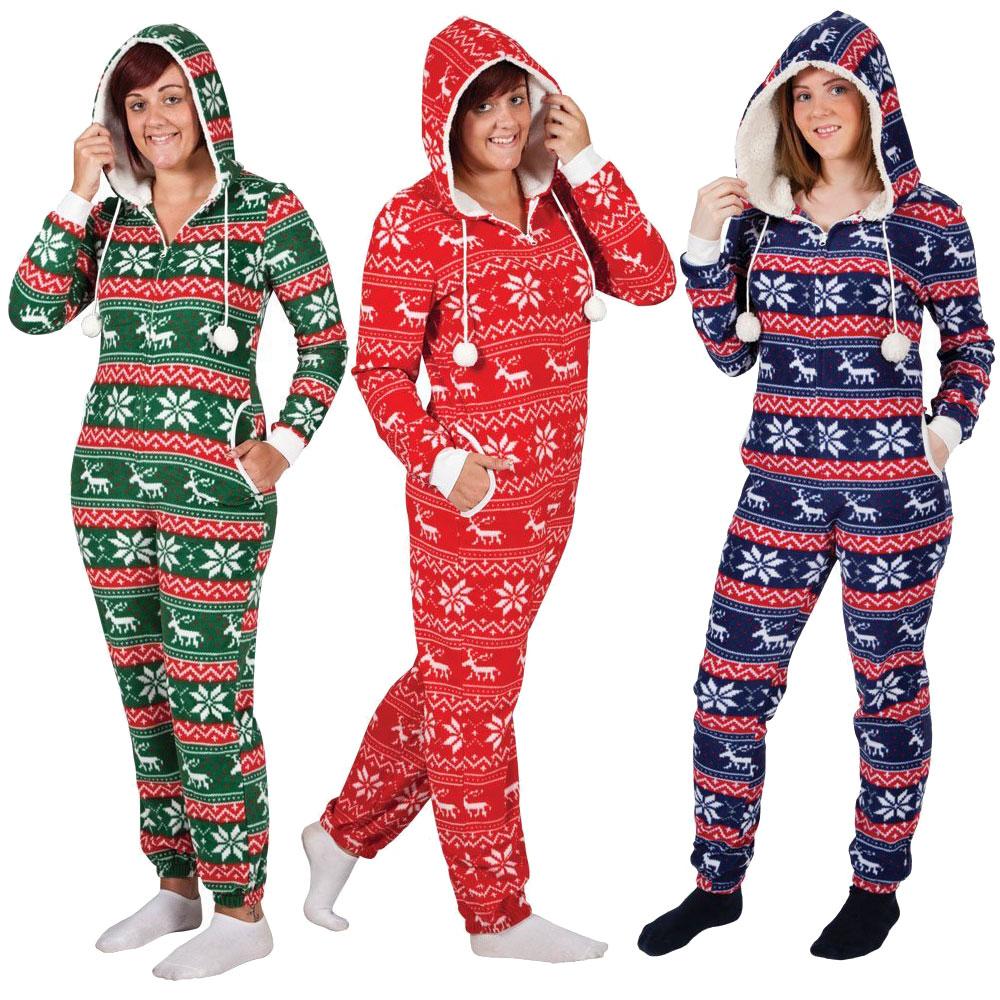 Ladies Christmas Fleecy All In One Piece Onesie Jumpsuit New ...