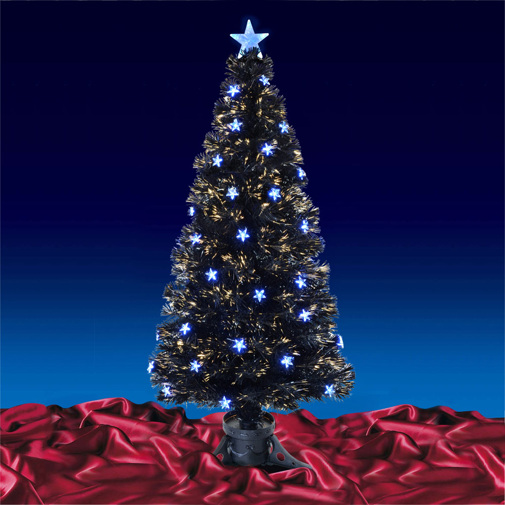 Black Fibre Optic Artificial Indoor Christmas Tree Blue