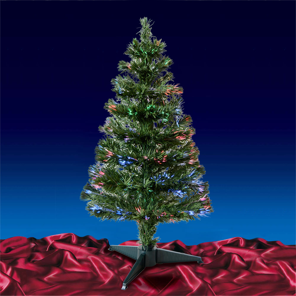 3ft Christmas Trees Artificial: Green/ Black Fibre Optic Artificial Indoor Christmas Tree