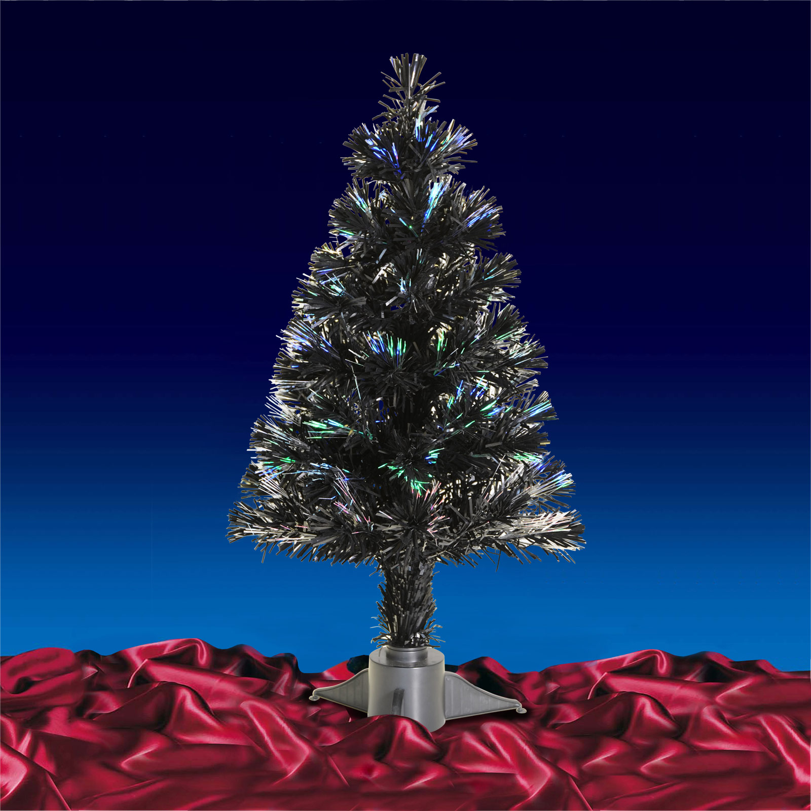 Festive 2ft 60cm Black Fibre Optic Christmas Xmas Tree Desk Table Decoration New