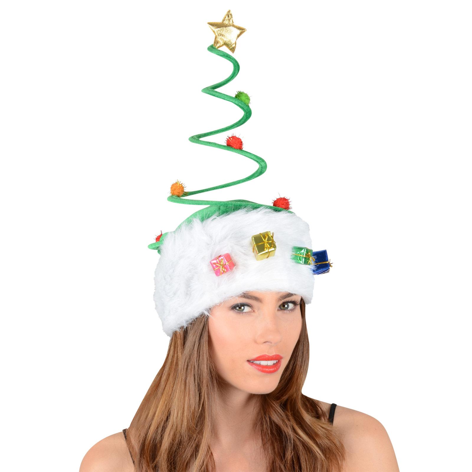Green plush spring christmas festive xmas novelty tree hat