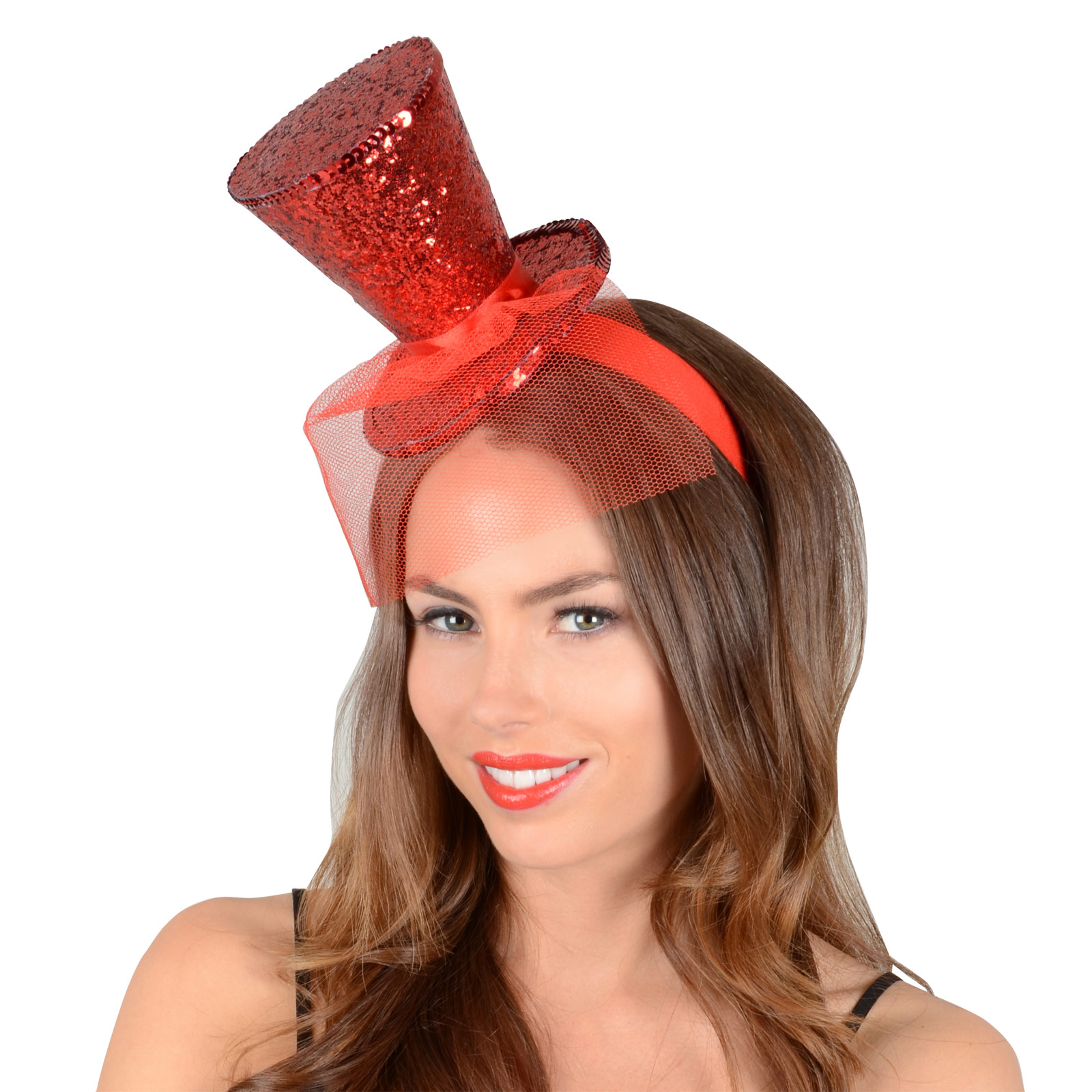 Sparkly red glitter mini top hat christmas xmas novelty