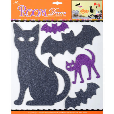 Wholesale Job Lot 48x Wall Stickers Room Decor Halloween Black & Purple Glitter Cats & Bats Decorations