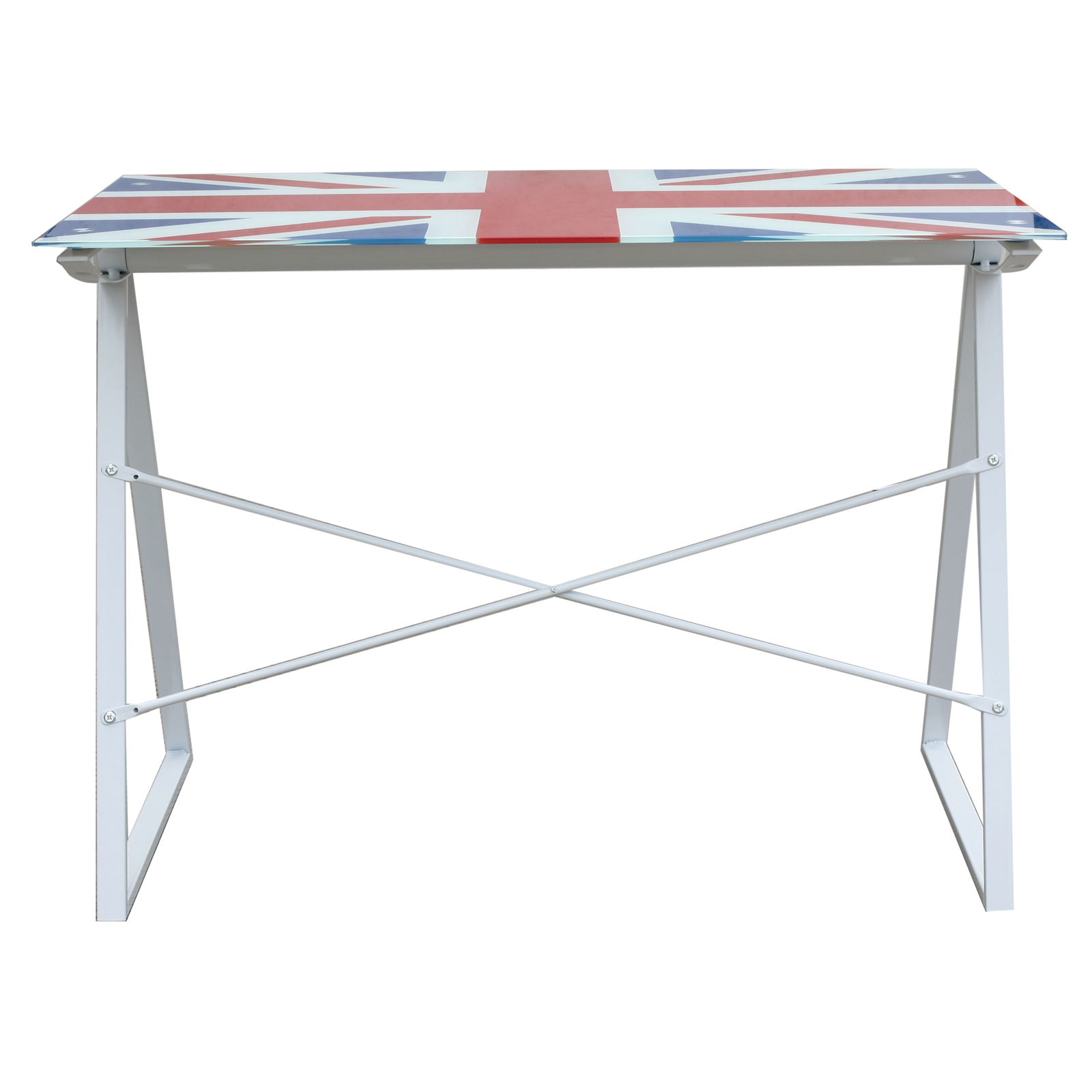 British Union Jack Glass Top Computer Table Desk Furniture For Your