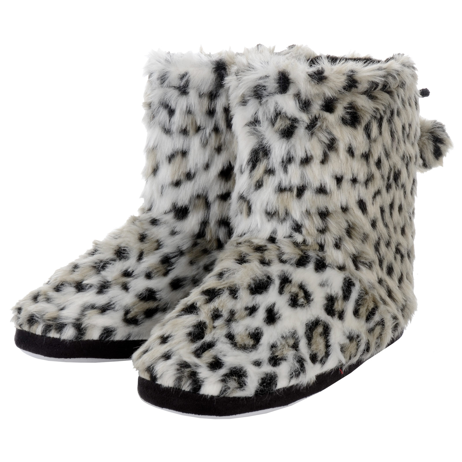 Womens Faux Fur Snow Leopard Animal Print Lined