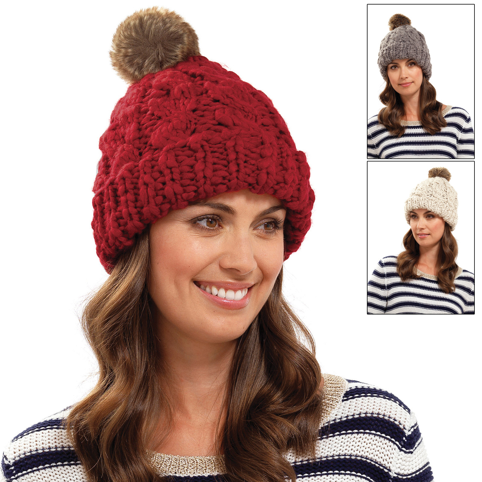 Ladies Chunky Cable Knit Hat With Faux Fur Bobble Warm Winter Accessory Beani...