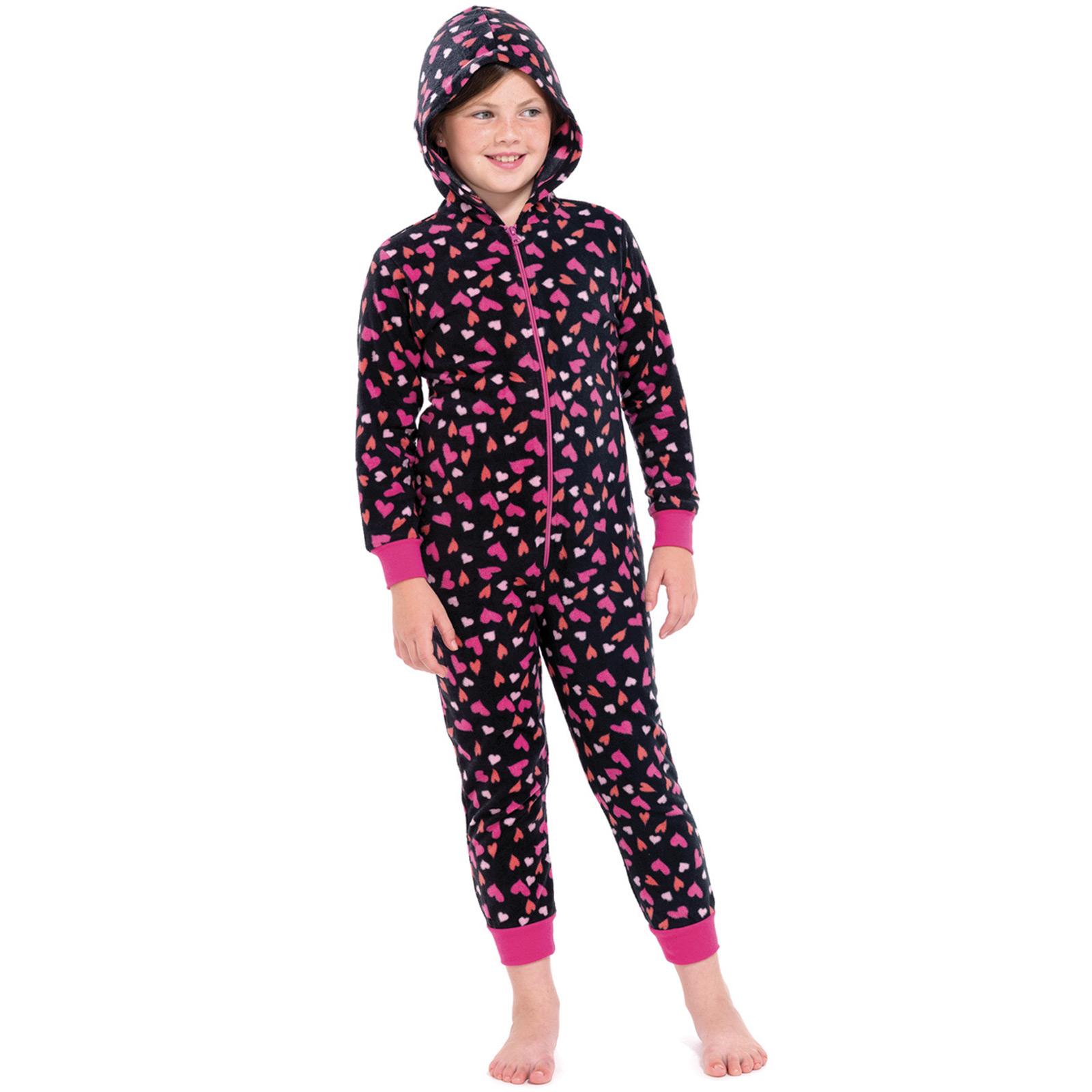 girls hearts all in one pyjamas jump sleep suit onesie pjs