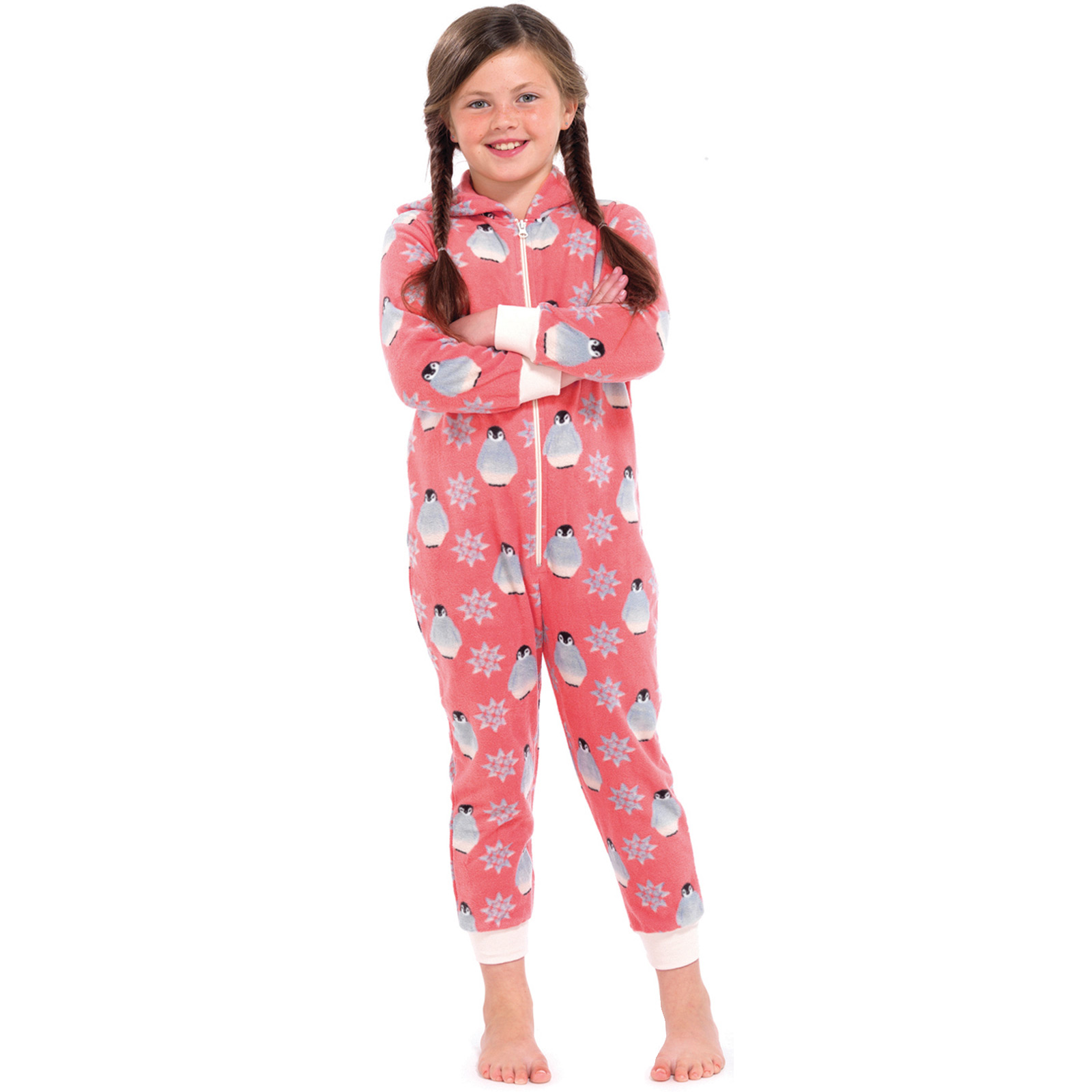 Girls Penguin All In One Pyjamas Jump Sleep Suit Onesie PJs ...