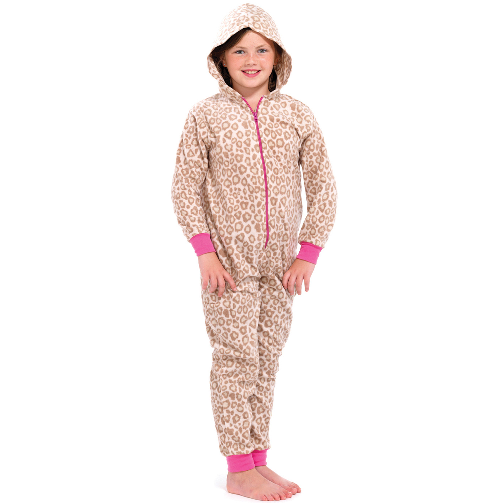 Girls Animal Print All In One Pyjamas Jump Sleep Suit Onesie PJs ...