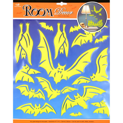 Wholesale Job Lot 48x Wall Stickers Room Decor Halloween Glow In The Dark Bats