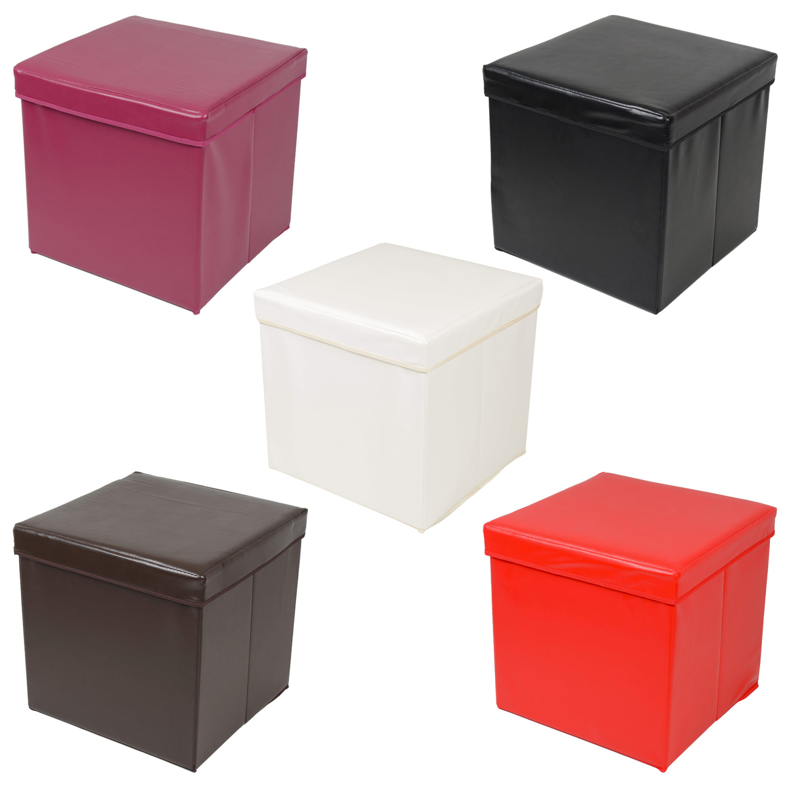Ottoman Large Faux Leather Folding Storage Pouffe Toy Box Foot Stool Seat SALE  sc 1 st  eBay & Ottoman Large Faux Leather Folding Storage Pouffe Toy Box Foot ... Aboutintivar.Com