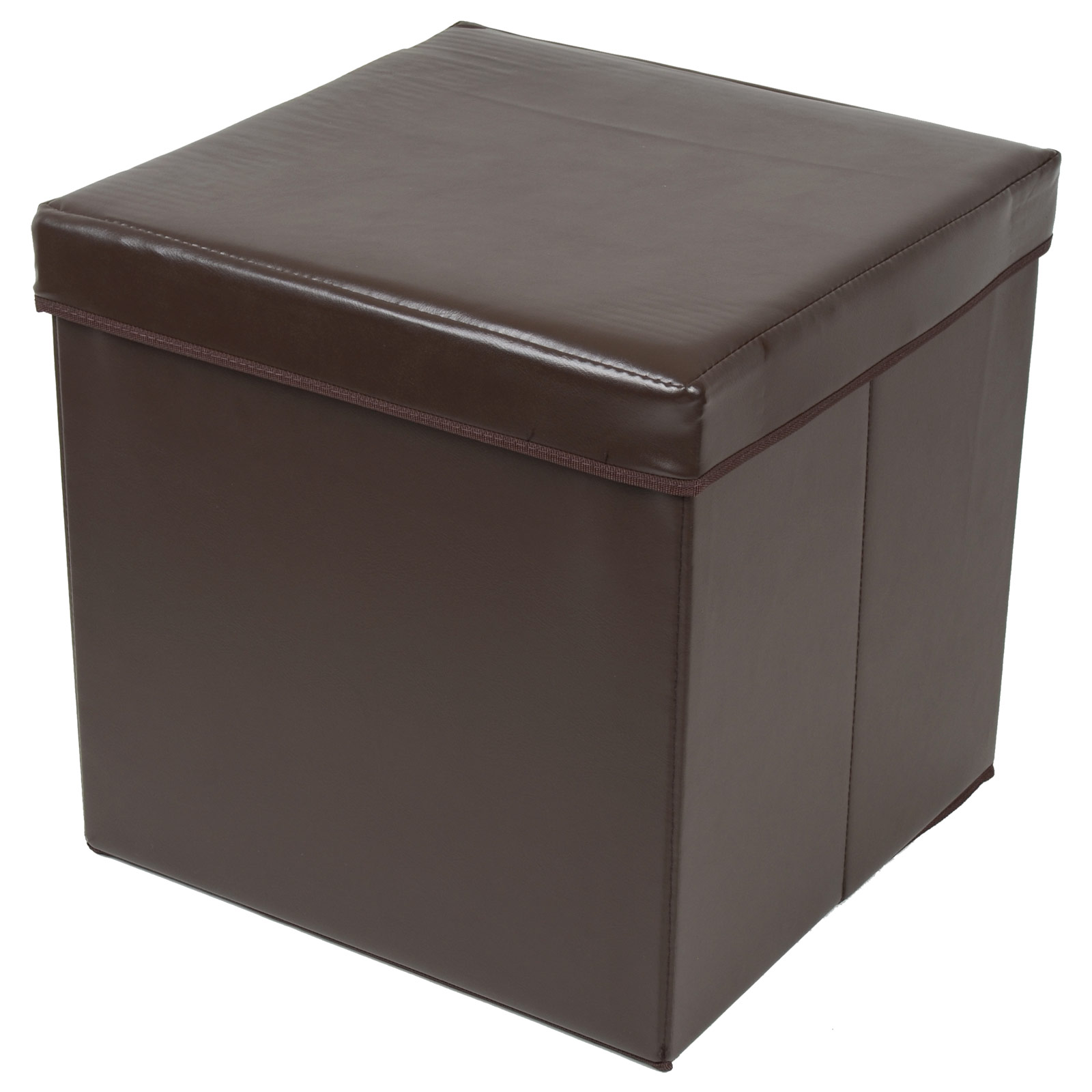 Folding Storage Stool With Lid Brown Faux Leather 38cm