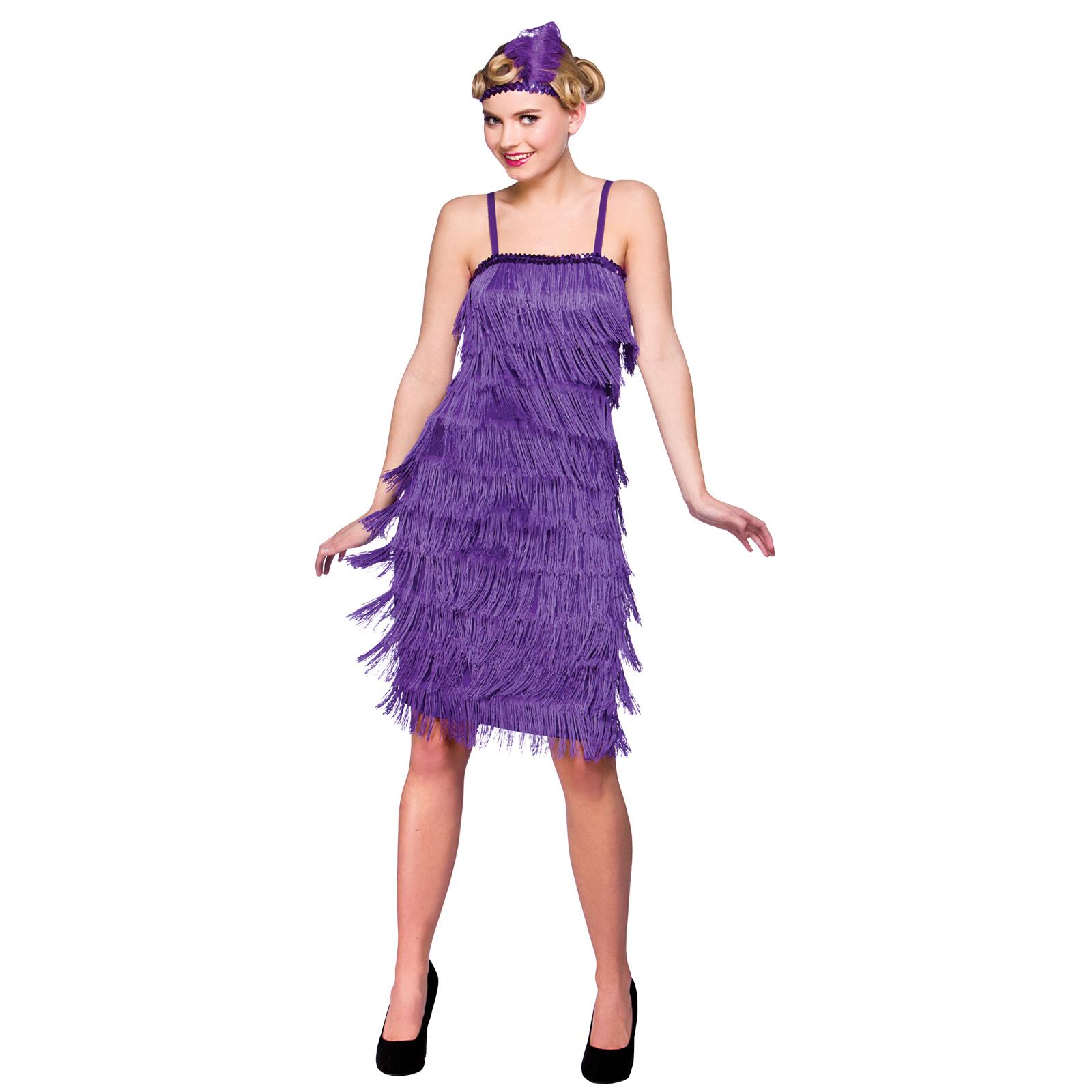 Womans Purple Jazzy Flapper 1920's Jazz Halloween Fancy Dress Costume ...