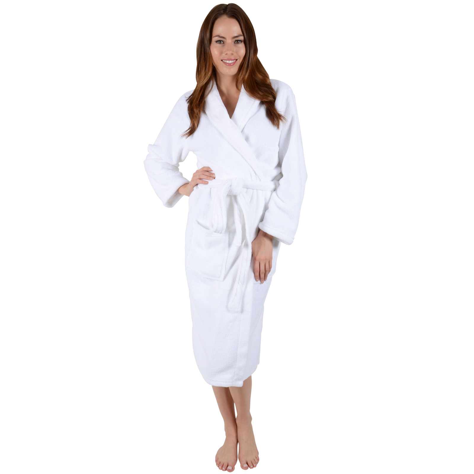 Ladies White Soft Coral Fleece Bath Robe Dressing Gown Wrap Round ...