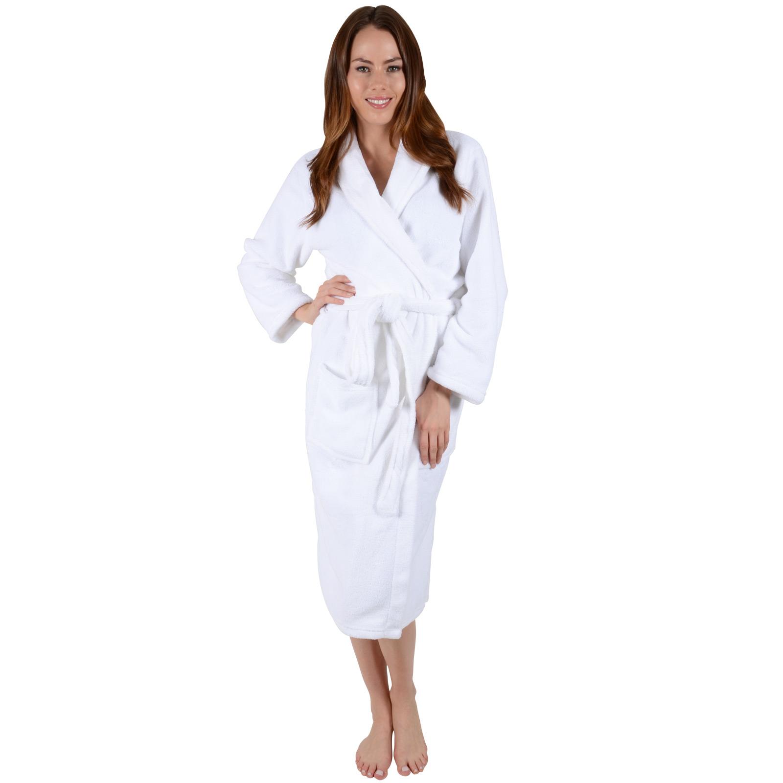 Ladies White Soft Coral Fleece Bath Robe Dressing Gown Wrap Round