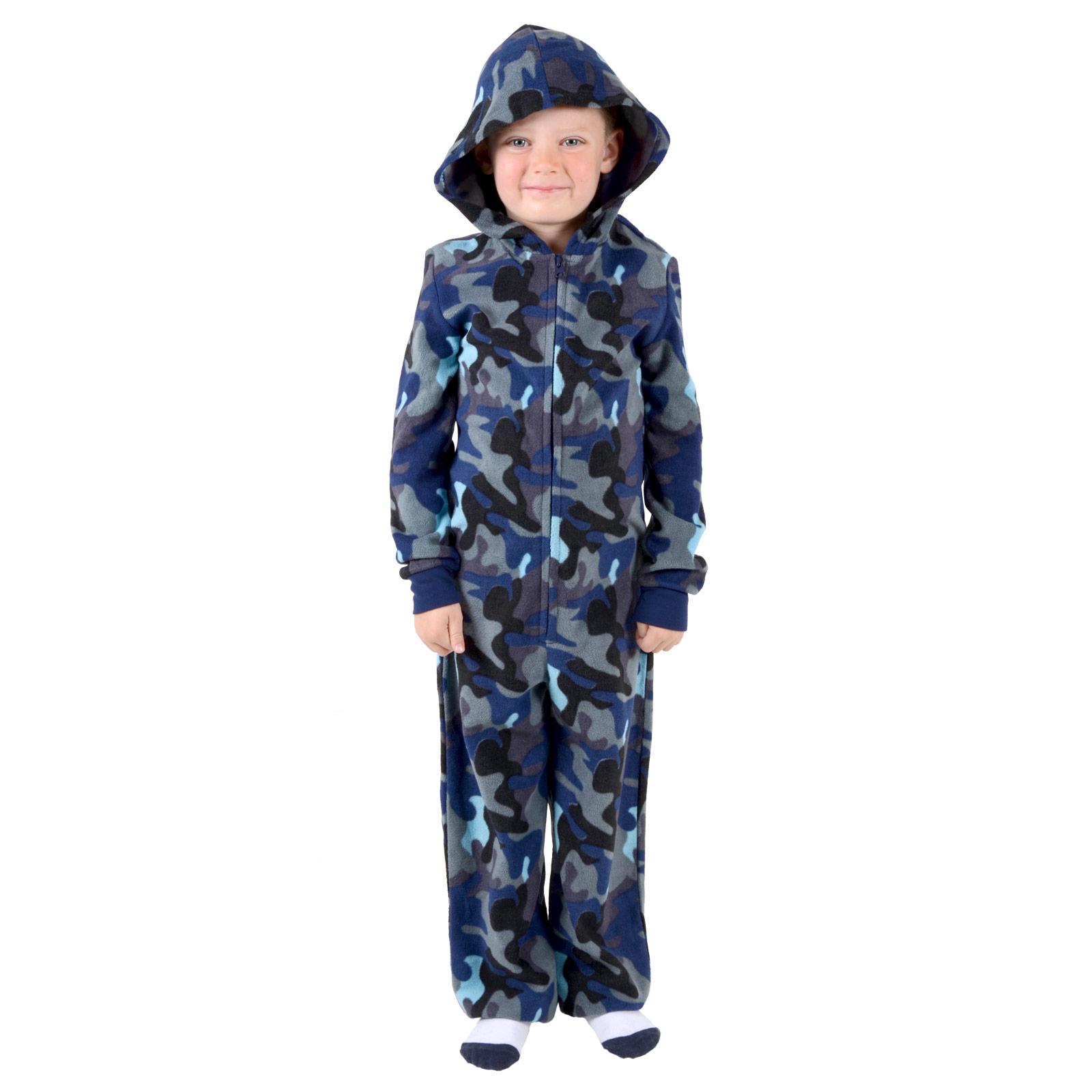 Boys Hooded Fleece All In One Piece Pyjamas Jump Sleep Suit Onesie ...