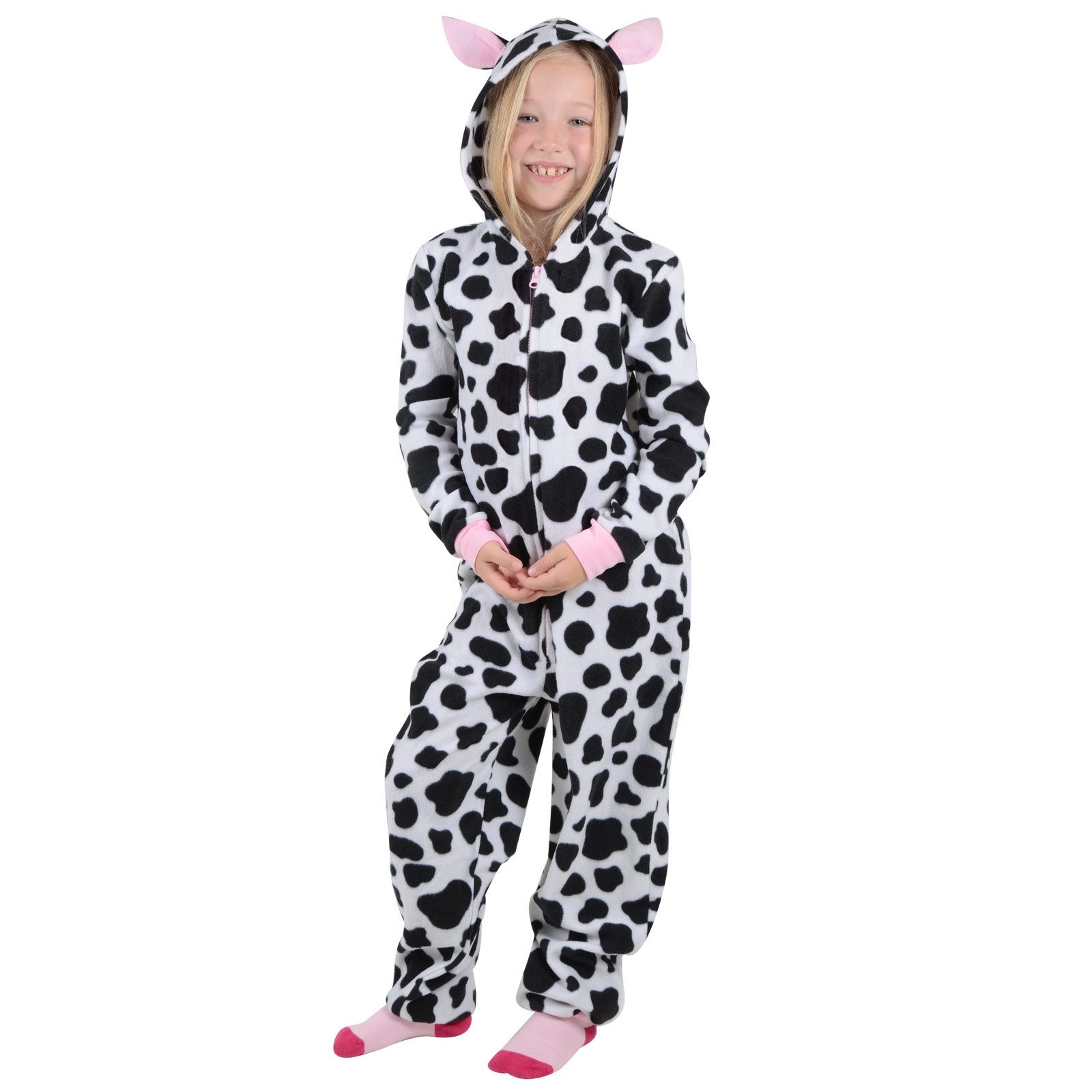 60afb8c500896 Girls Hooded Fleece All In One Piece Pyjamas Jump Sleep Suit Onesie ...