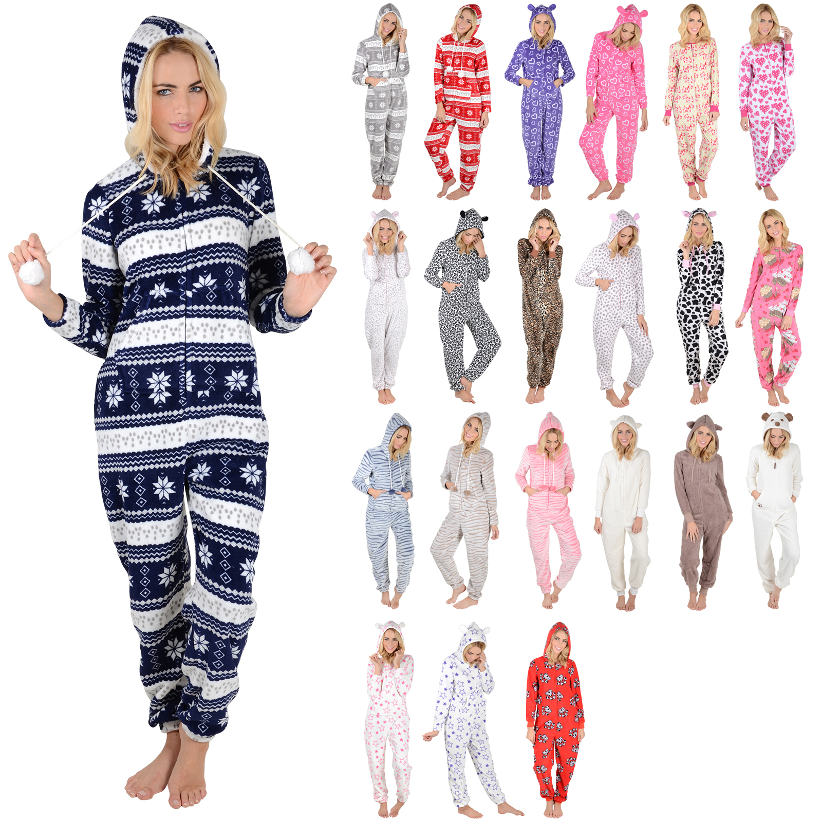 ladies fleece all in one piece pyjamas jump sleep suit pjs nightwear new ebay. Black Bedroom Furniture Sets. Home Design Ideas