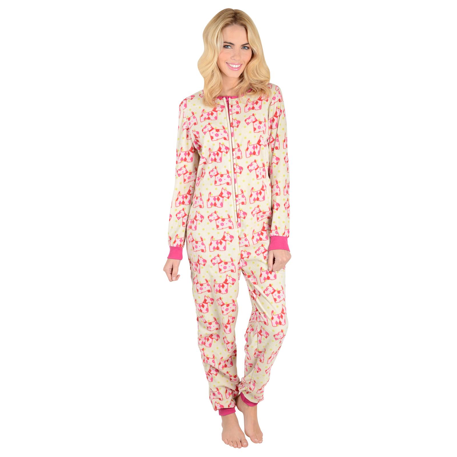 ladies fleece all in one piece pyjamas jump sleep suit pjs nightwear new ebay. Black Bedroom Furniture Sets. Home Design Ideas