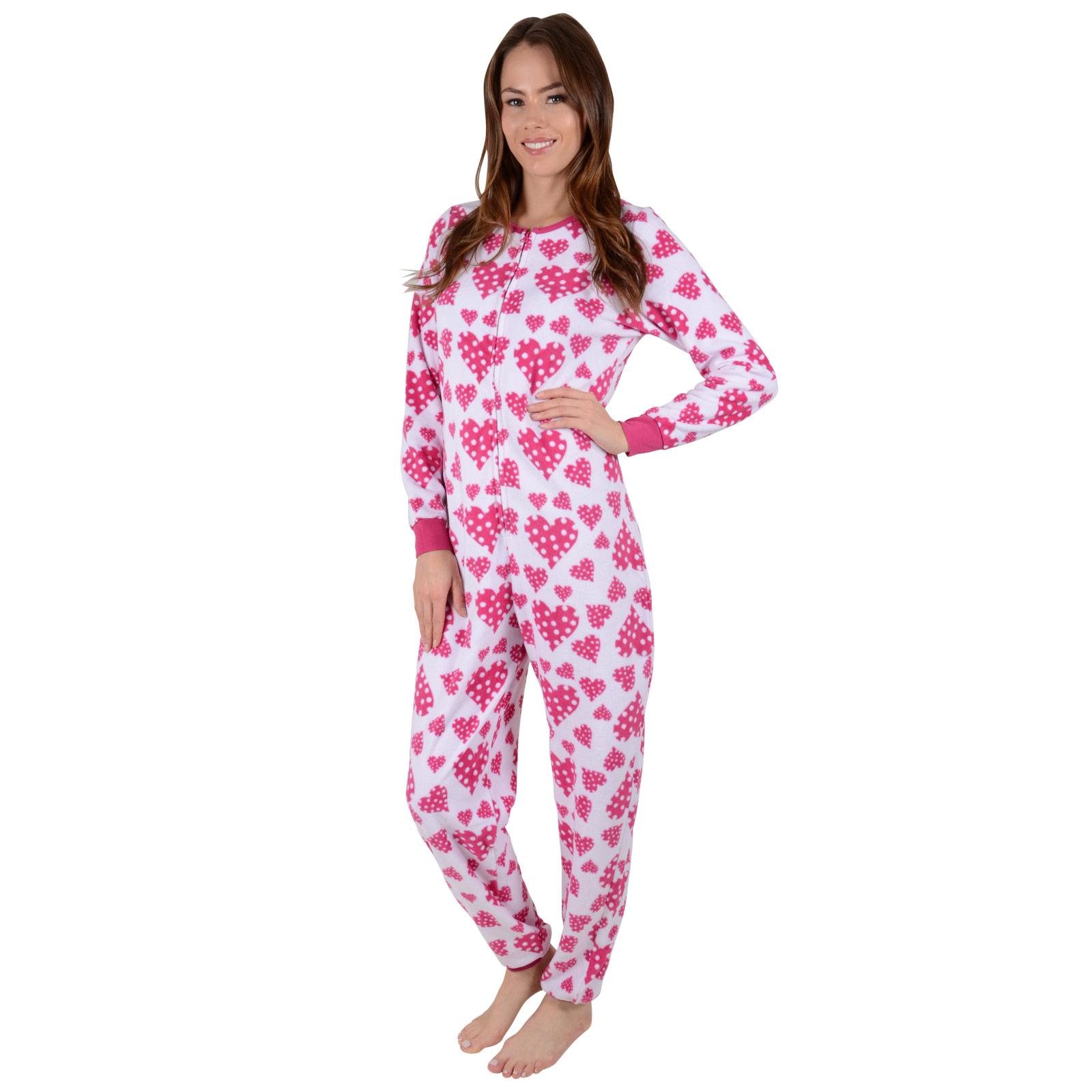 ladies fleece all in one piece pyjamas jump sleep suit
