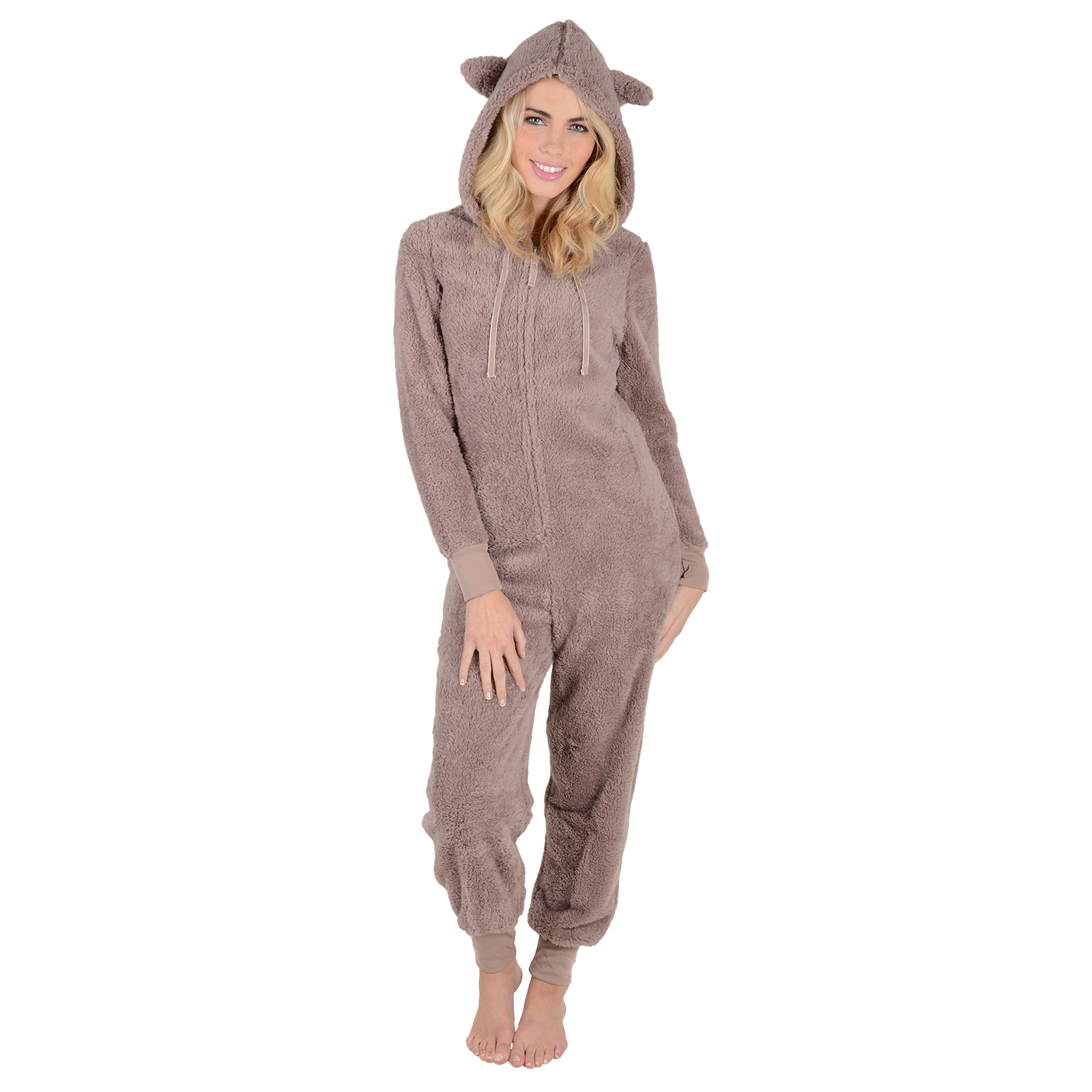 ladies fleece all in one piece pyjamas jump sleep suit pjs. Black Bedroom Furniture Sets. Home Design Ideas