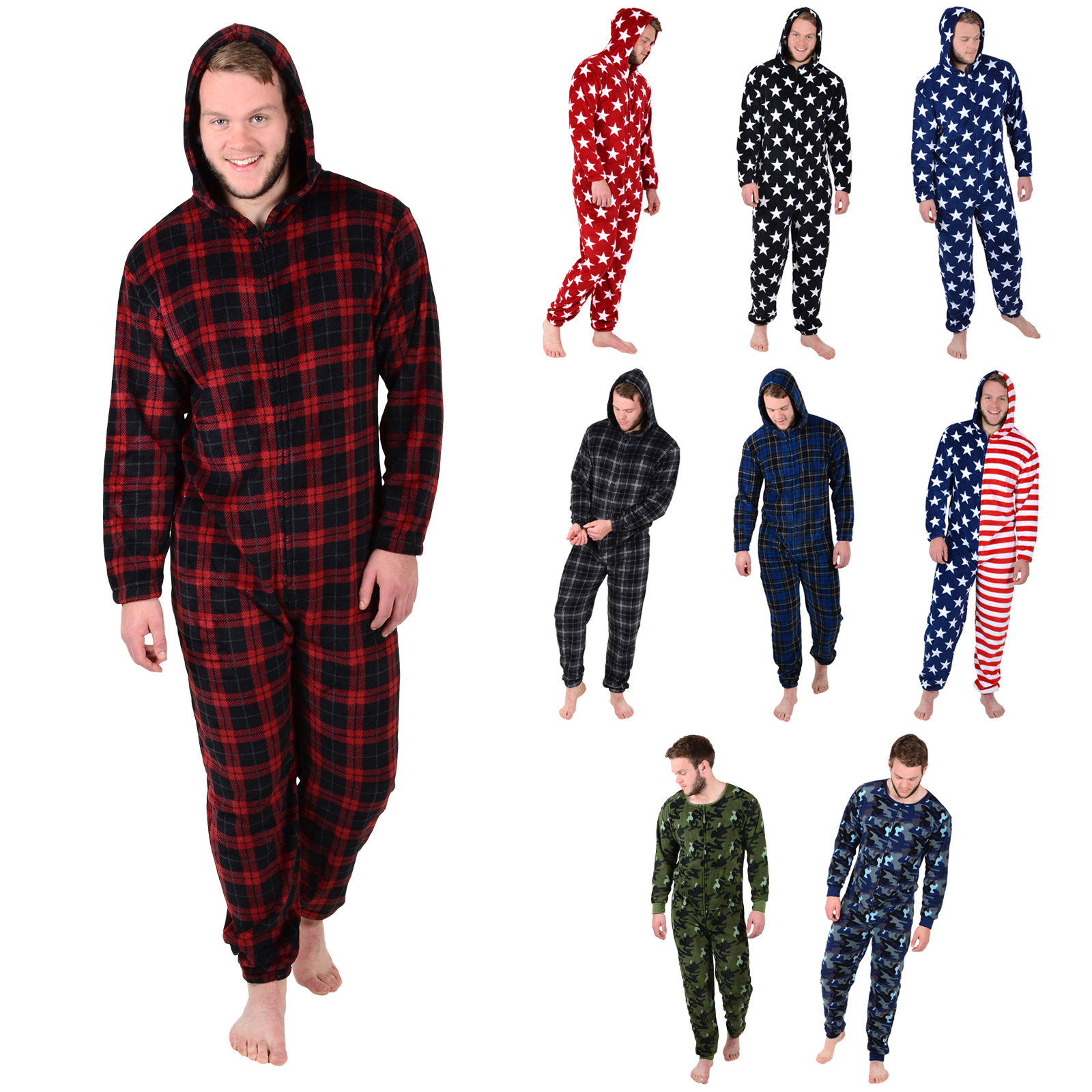 Mens Cosy Fleece All In One Piece Pyjamas Jump Sleep Suit Onesie ...