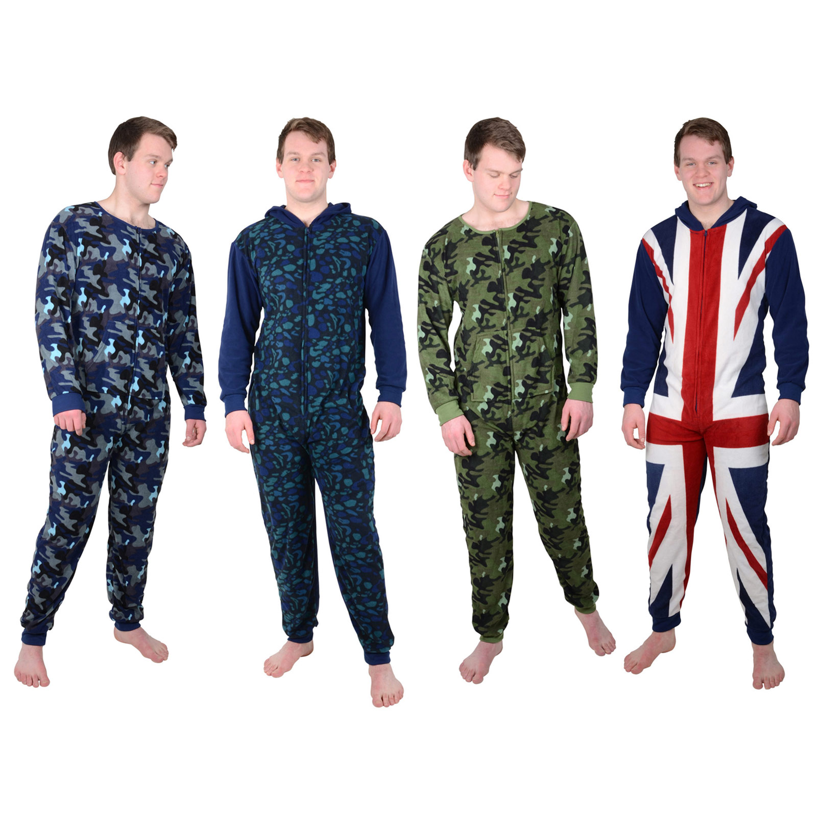 Mens Cosy Fleece All In One Piece Pyjamas Jump Sleep Suit Onesie ...