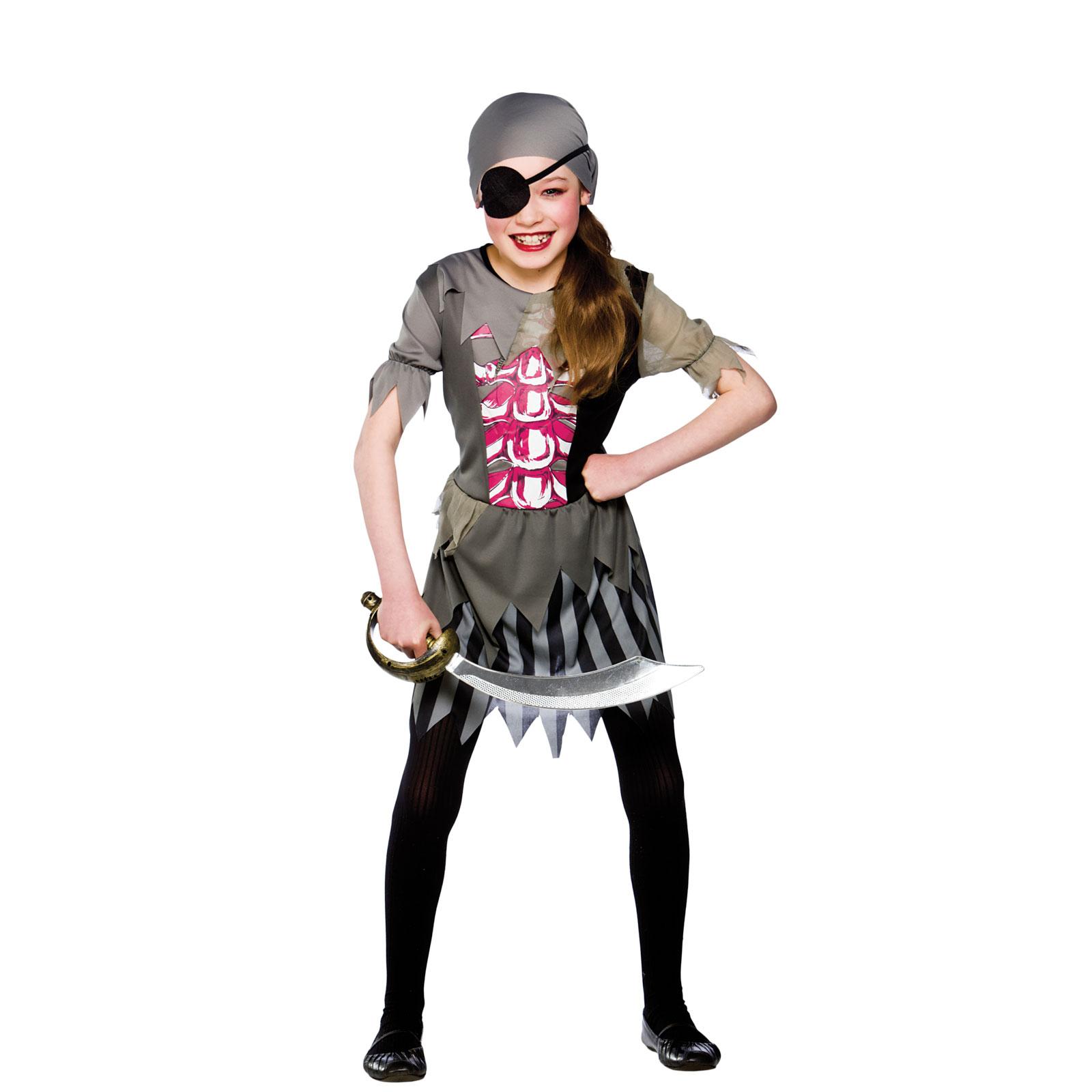 New Kids Girls Zombie Pirate Girl Party Fancy Dress Up Halloween ...