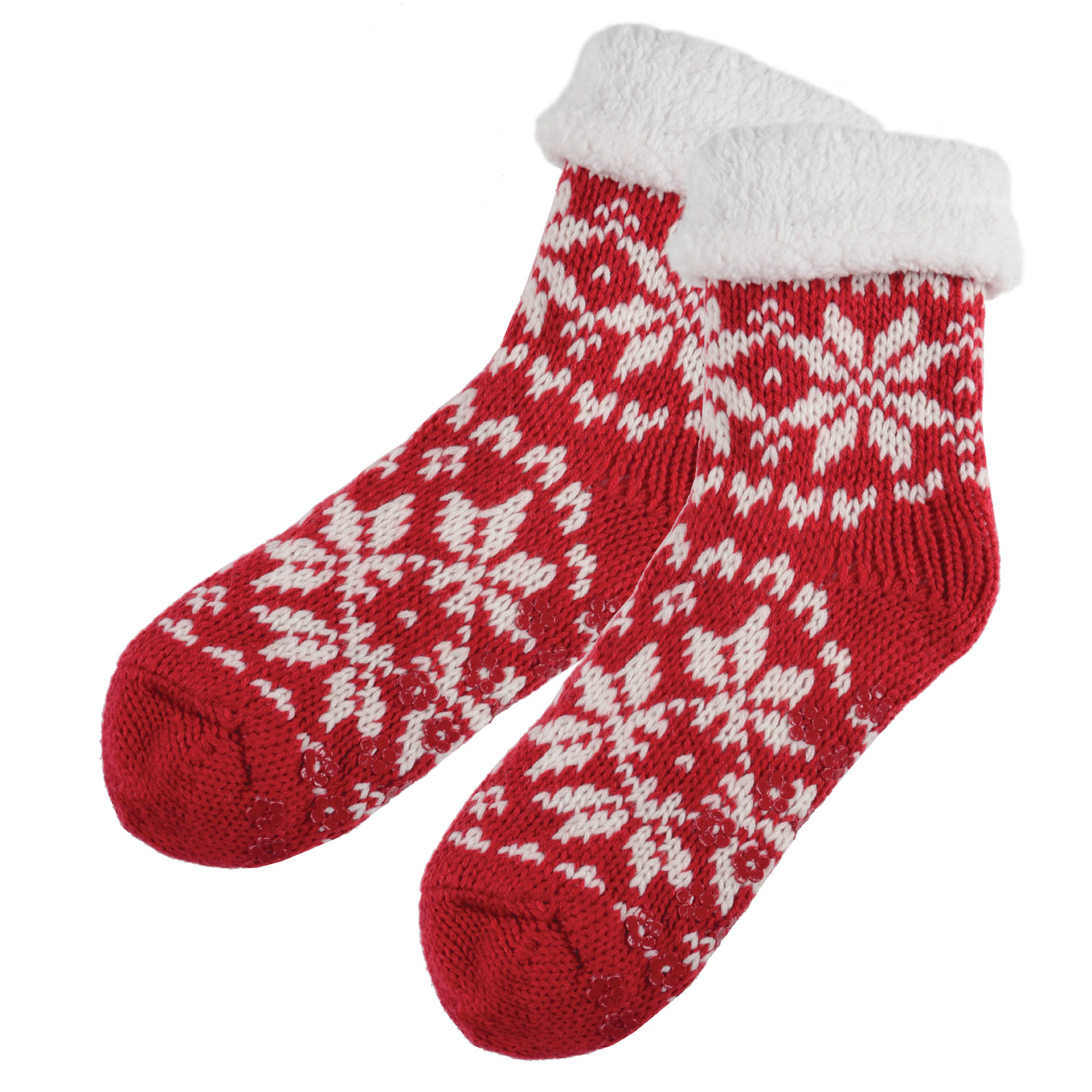Fleece Fairisle Knit Slipper Socks And Non-Slip Grips Winter Warmers One Size