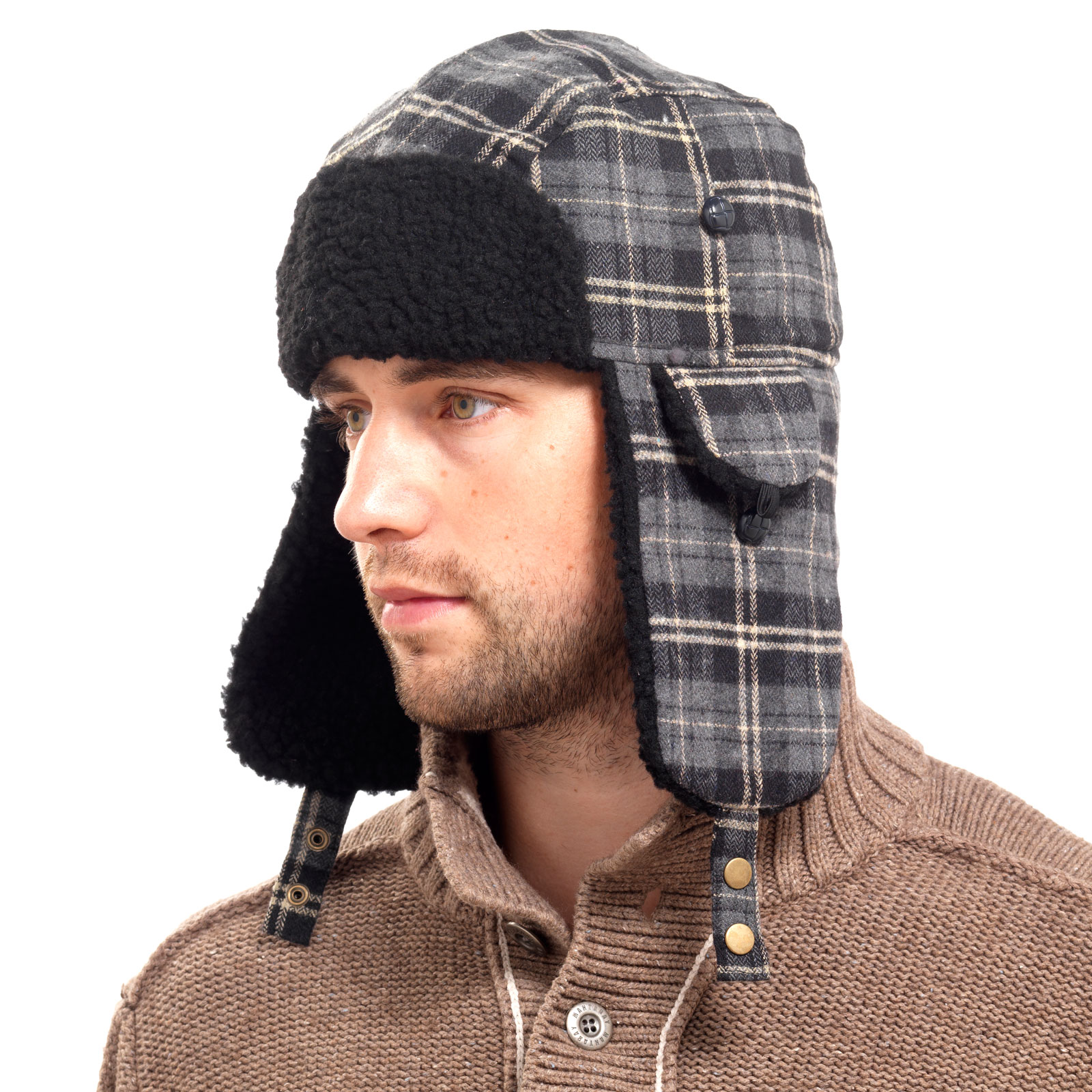 Mens Checked Sherpa Chunky Fleece Lined Trapper Hat With