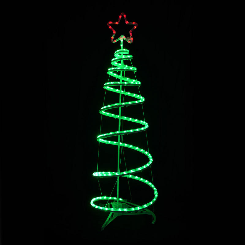 Christmas Spiral Tree LED Rope Light With Star 120cm Indoor Outdoor Mains Dec