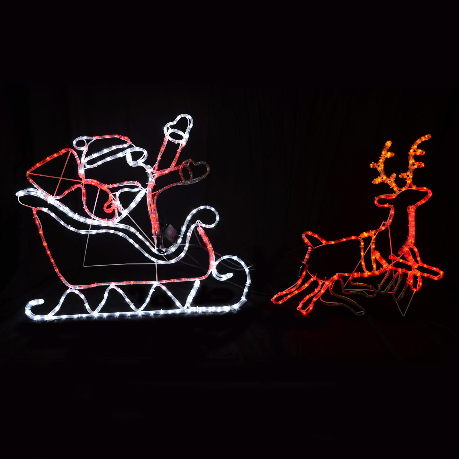 rope light santa clause in his sleigh with reindeer christmas light. Black Bedroom Furniture Sets. Home Design Ideas