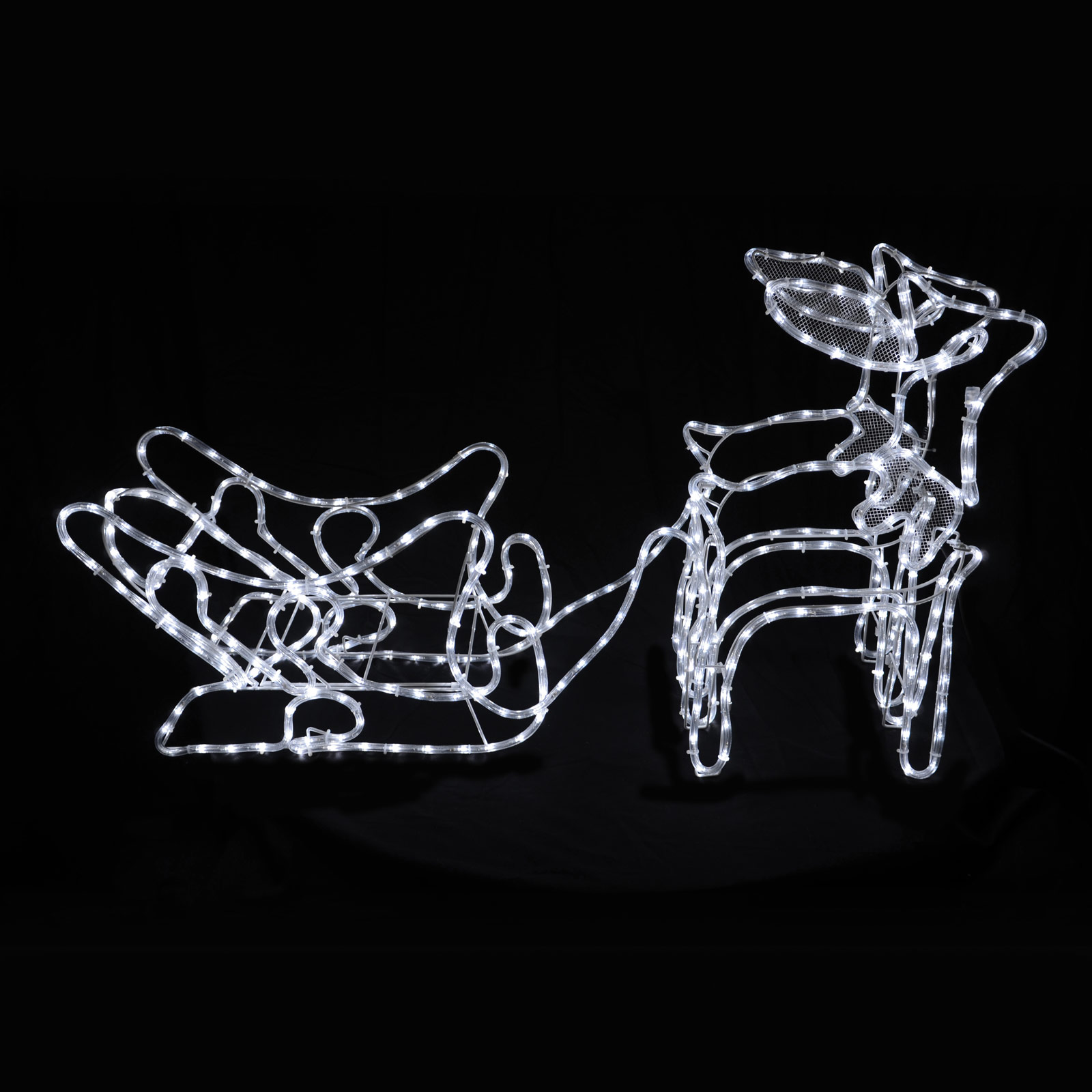 2 Reindeer & Sleigh White LED Rope Light Christmas Standing Decoration Outdoor