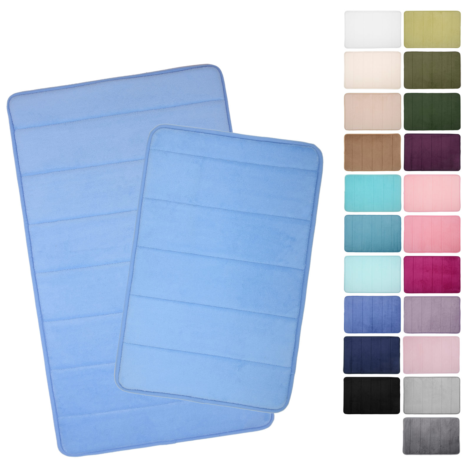 Microfibre Memory Foam Bathroom Shower Bath Mat With Non Slip Back   22  Colours