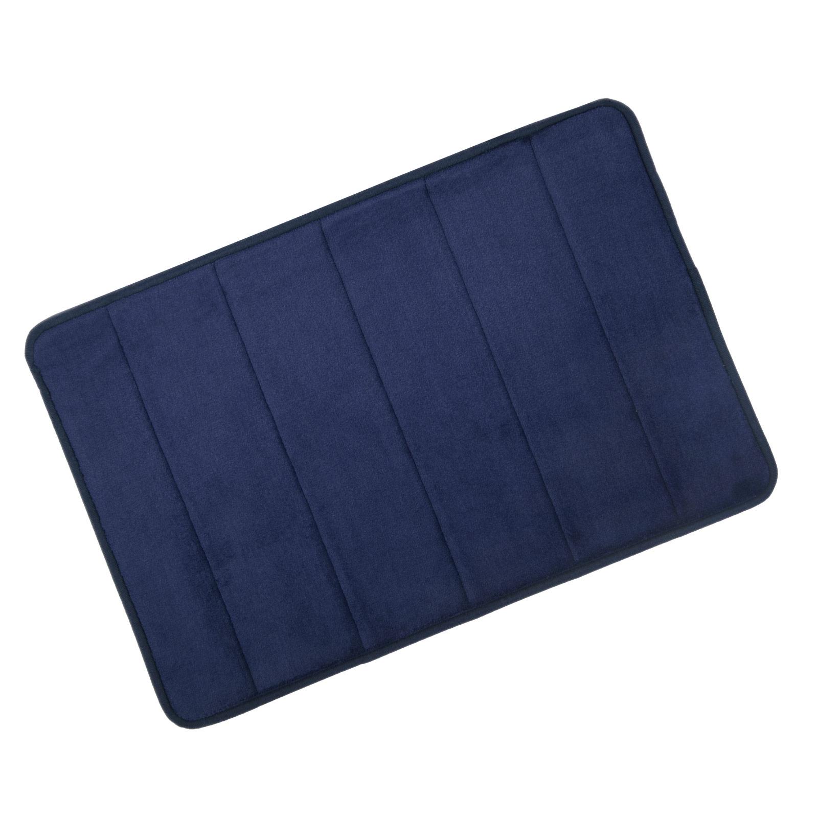 navy microfibre memory foam bath mat washable bathroom rug non slip 40x60cm ebay. Black Bedroom Furniture Sets. Home Design Ideas
