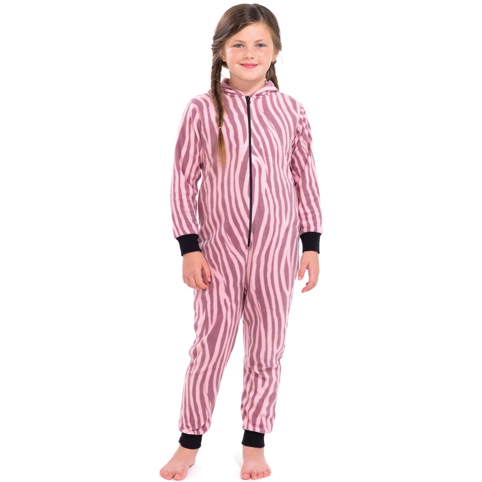 Girls All In One Pyjamas Onesie Animal Print Nightwear Jump Sleep ...