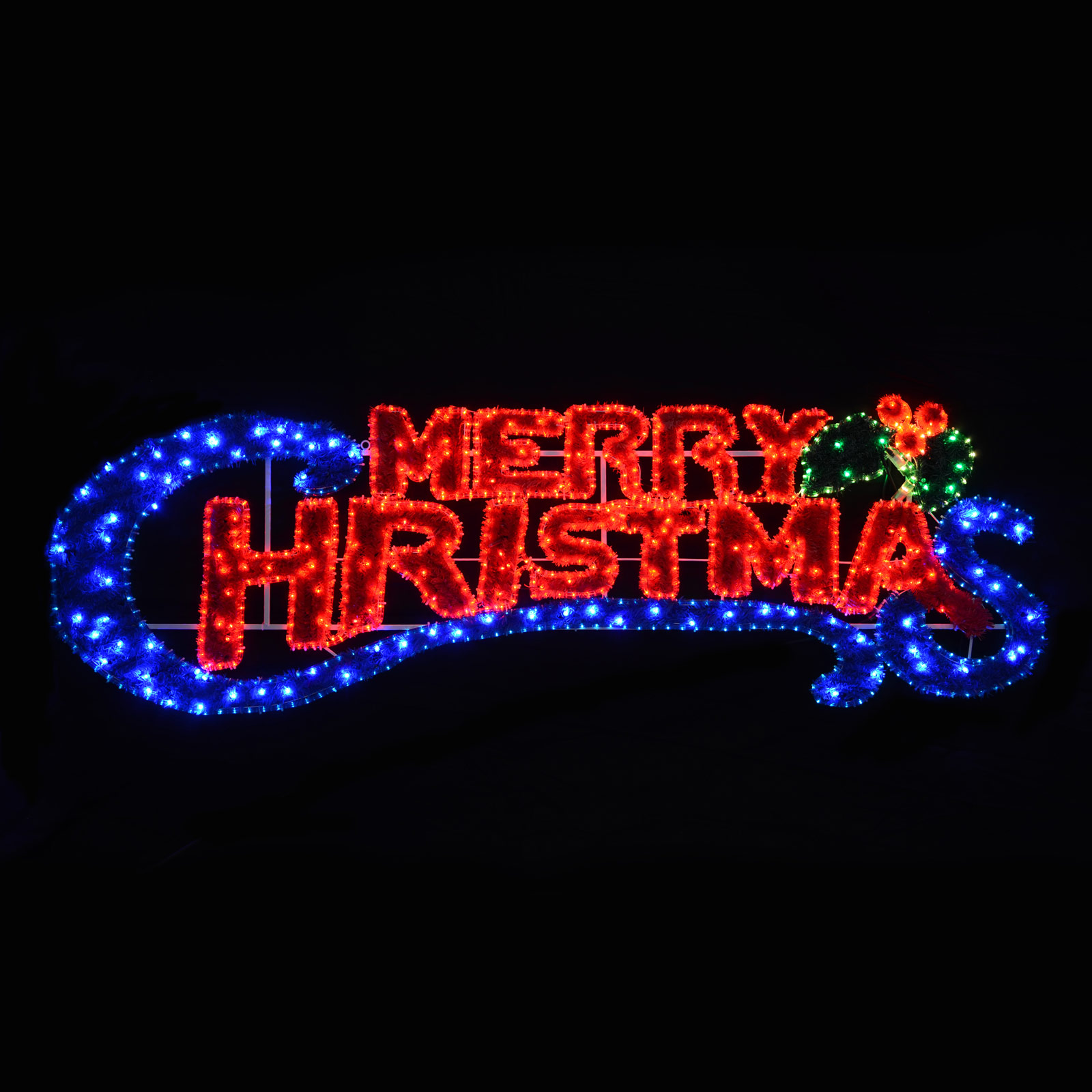 ... Flashing Blue & Red Light Merry Christmas Sign Tinsel Xmas Decoration
